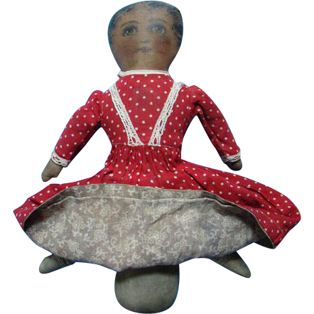 C1900 Black White Topsy Turvy Cloth Doll Babyland Rag Type Painted Features