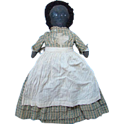 Old Black Americana Cloth Rag Doll Handmade Painted Face Limbs Check Wool Challis Dress