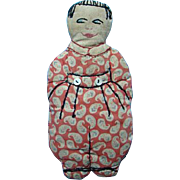 C1930s One Piece Cloth Doll Soft Toy Child Plaything Handmade Embroidered Features
