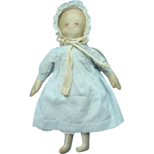 Antique Moravian Cloth Rag Doll Painted Face 15 Inch Polly Heckewelder Church Benefit