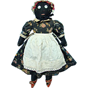 Antique Primitive Black Cloth Rag Doll Embroidered Features Black Calico Dress
