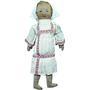 C1900 Primitive Painted Face Cloth Rag Doll in White Dress