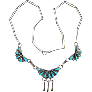 Zuni Petit Point Turquoise Necklace Hand Made Paper Clip Chain Signed Sterling