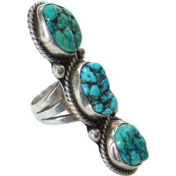 Vintage Navajo Style Three Nugget Turquoise Ring Sterling Silver Size 7.75 to 8