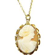 Gold Filled Carved Shell Cameo Pendant Locket Necklace and Chain Signed Patrol 1939