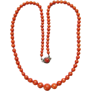 Vintage C1920-30 Red Coral Bead Necklace Graduated Strand AMEF 835 Silver Clasp 22 Inch