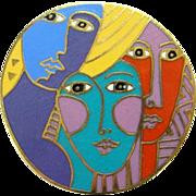 Vintage Laurel Burch Multicolor Enamel Brooch Woman Spirit 1993