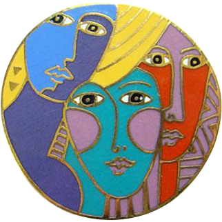 Vintage Laurel Burch Multicolor Enamel Brooch Woman Spirit 1993