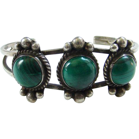 Vintage Navajo Style Sterling Silver Triple Malachite Cuff Bracelet Indian Jewelry