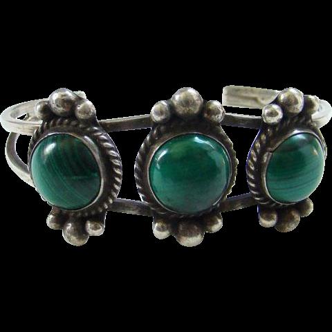 Vintage Navajo Style Sterling Silver Triple Malachite Cuff Bracelet Indian Jewelry