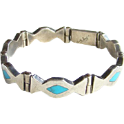Taxco Mexico Hinged Link 925 Sterling Bracelet Turquoise Inlay TR-? Hallmarked