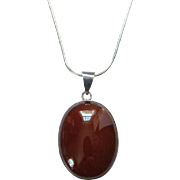 Vintage Oval Carnelian Pendant Necklace Sterling Silver and Chain