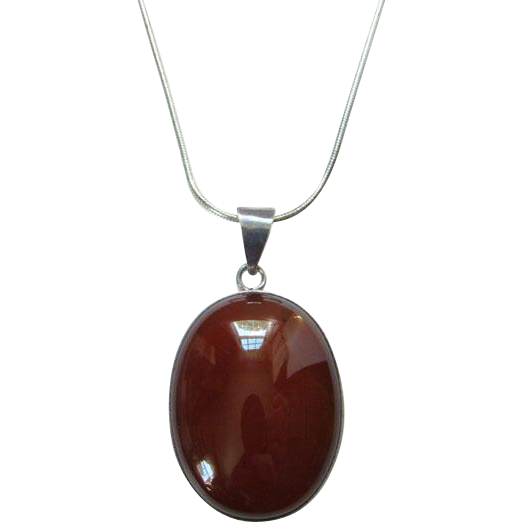 Vintage Oval Red Onyx Pendant Necklace Sterling Silver and Chain