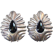 Vintage Taxco Mexico Sterling Silver Onyx Clip Earrings TJ-35 Large Size Mexican Jewelry
