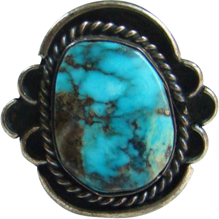 Old Handmade Navajo Style Morenci Turquoise Ring Sterling Silver Great Stone Size 5.75
