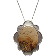 Vintage Sterling Silver Picture Jasper Pendant Necklace 925 Chain