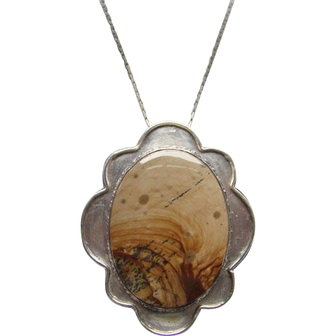 Vintage Sterling Silver Picture Landscape Gemstone Pendant Necklace 925 Chain Southwestern Style