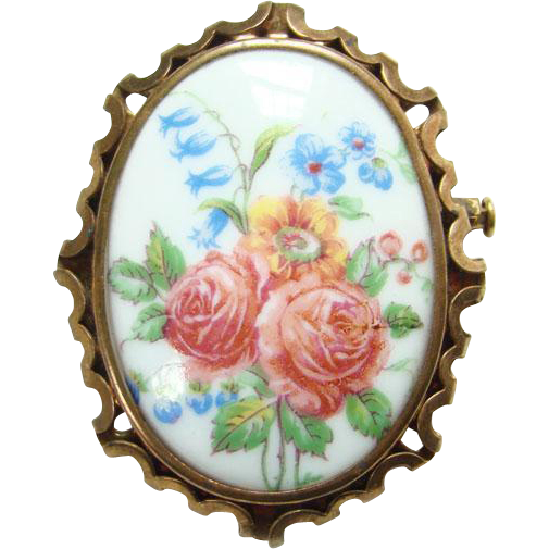 Vintage Limoges France Porcelain Brooch Pin Hand Painted Roses Flowers Signed FM