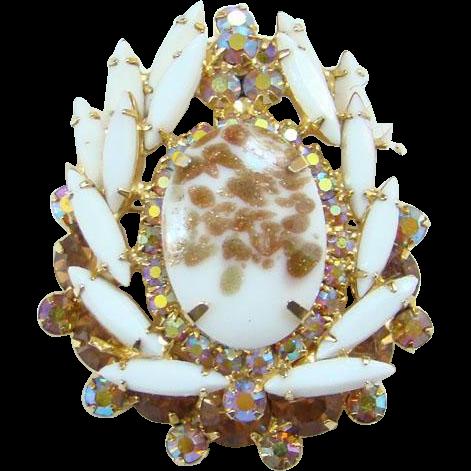 Juliana Chalk White Gold Fluss Rhinestone Brooch Pin Amber Aurora Borealis DeLizza Elster
