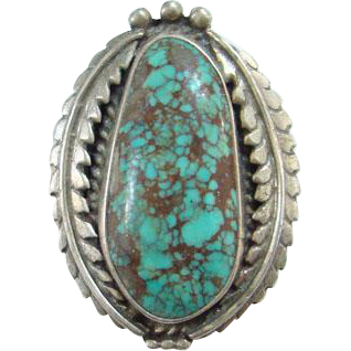 Old Navajo Style Spider Web Turquoise Pendant Brooch Sterling Silver Feathers