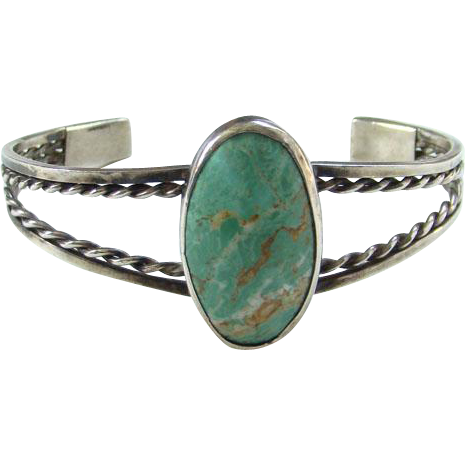 Vintage Turquoise Cuff Bracelet Tan Matrix Sterling Silver Navajo Style