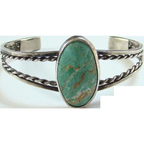 Vintage Turquoise Cuff Bracelet Tan Matrix Sterling Silver Navajo Style