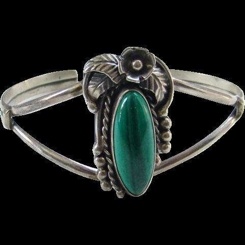 Vintage Southwestern Style Malachite and Sterling Silver Cuff Bracelet Signed BT