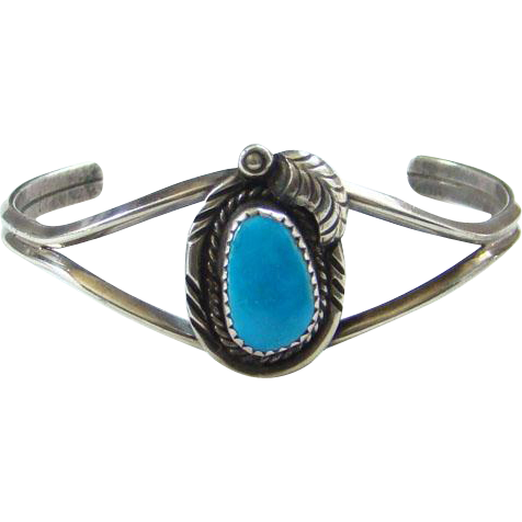 Vintage Navajo Style Turquoise Cuff Bracelet Sterling Silver Southwestern Signed JB