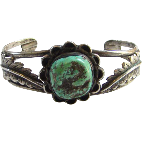 Jackson Pino Native American Sterling Silver Turquoise Nugget Cuff Bracelet Signed JP