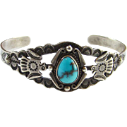 Vintage Navajo Turquoise Thunderbird Cuff Bracelet Sterling Silver Fred Harvey Era Stamp Decoration