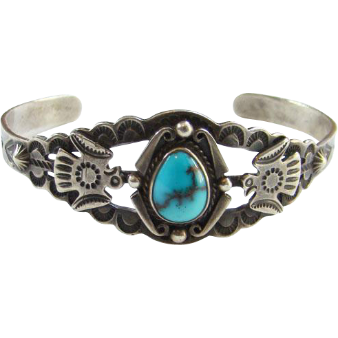Vintage Navajo Turquoise Thunderbird Cuff Bracelet Sterling Silver Fred Harvey Era Stamp Decoration