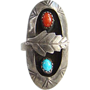 Vintage Signed Zuni Petit Point Turquoise Row Ring Size 6 Sterling Silver Native American