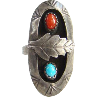 Southwestern Turquoise Coral Shadow Box Statement Ring Size 5.5 Sterling Silver Signed N Native American