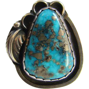 Vintage Navajo Morenci Turquoise Ring Signed Platero Sterling Silver Size 6.5 Native American
