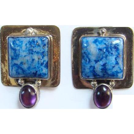 Vintage Sterling Silver Denim Lapis Amethyst Pierced Earrings Signed Southwestern Style