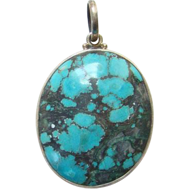 Vintage Oval Turquoise 925 Sterling Silver Necklace Pendant Black Matrix
