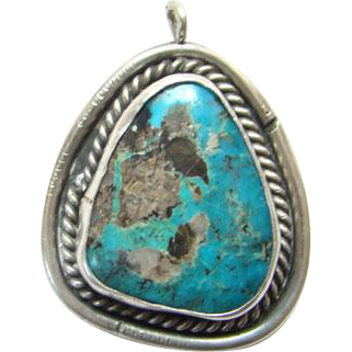 Southwestern Turquoise Sterling Silver Vintage Pendant Beautiful Stone