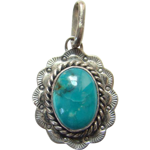 Vintage Nakai Turquoise Necklace Pendant Sterling Silver