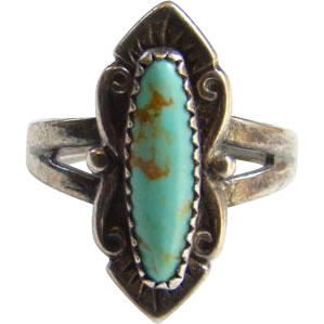 Bell Trading Post Turquoise Ring Sterling Silver Size 6 Navajo Native American