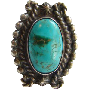 Vintage Navajo Style Turquoise Sterling Silver Ring Size 5.5 Stamp Decoration