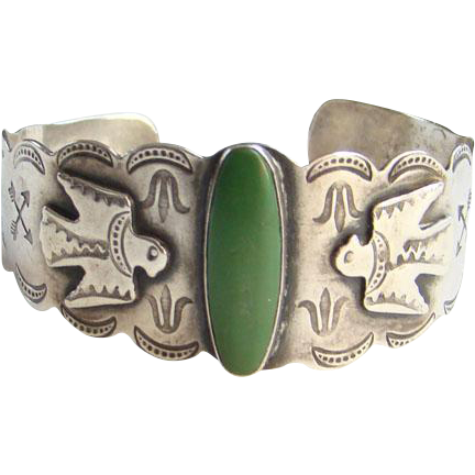 Vintage Green Turquoise Navajo Thunderbird Cuff Bracelet Sterling Silver Native American