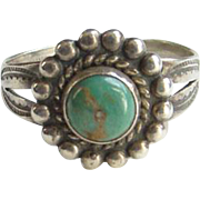 Vintage Navajo Bell Trading Post Turquoise Ring Size 8.75 Sterling Silver Native American