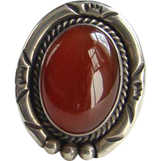Vintage Native American Carnelian Silver Ring Signed Sterling Nakai Size 7
