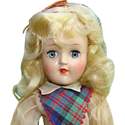 1949 Ideal Toni Doll P-90 Blond Plaid Jumper Dress Oil Cloth Shoes Original Box