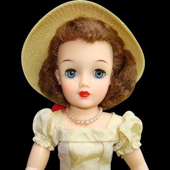 1950s Ideal Miss Revlon Doll Kissing Pink Maize Yellow Taffeta Light Auburn Hair Vinyl VT-18