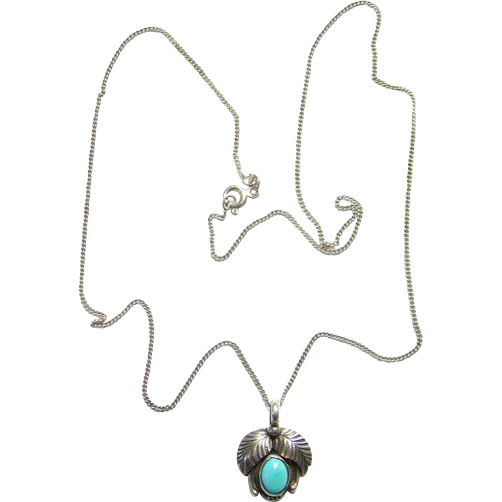 Vintage Navajo Betty Thomas Turquoise Pendant Necklace Sterling Silver Native American Indian Jewelry