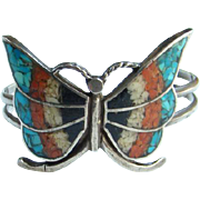 This is a Southwestern Navajo Style Sterling Silver Turquoise Mosaic Chip Inlay Butterfly Cuff