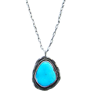 Vintage Southwestern Navajo Style Turquoise Pendant Necklace 18 Inch Sterling Silver Chain