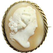 Victorian Carved Shell Cameo Male Roman Portrait with Laurel Wreath Crown Gold Filled