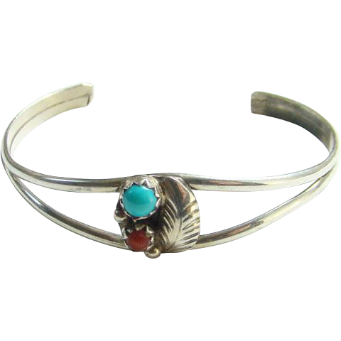 Vintage Southwestern Baby Cuff Bracelet Sterling Silver Turquoise Coral Navajo Style